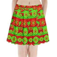 Snowflake Red And Green Pattern Pleated Mini Skirt