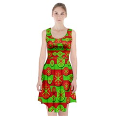 Snowflake Red And Green Pattern Racerback Midi Dress