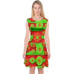 Snowflake Red And Green Pattern Capsleeve Midi Dress
