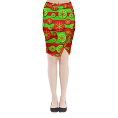 Snowflake Red And Green Pattern Midi Wrap Pencil Skirt