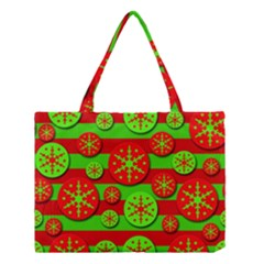 Snowflake red and green pattern Medium Tote Bag