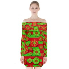 Snowflake Red And Green Pattern Long Sleeve Off Shoulder Dress
