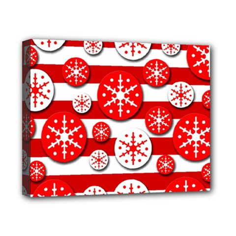 Snowflake red and white pattern Canvas 10  x 8