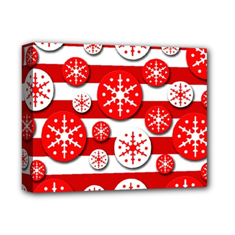 Snowflake red and white pattern Deluxe Canvas 14  x 11