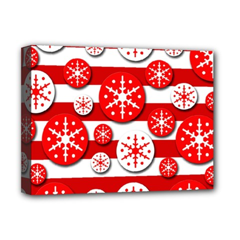 Snowflake red and white pattern Deluxe Canvas 16  x 12