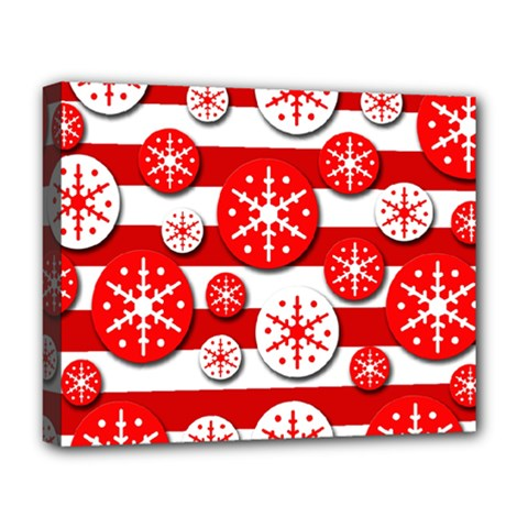 Snowflake red and white pattern Deluxe Canvas 20  x 16