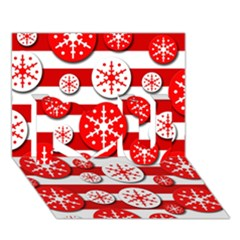 Snowflake red and white pattern I Love You 3D Greeting Card (7x5)