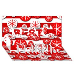 Snowflake red and white pattern Best Friends 3D Greeting Card (8x4)