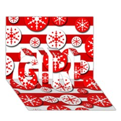 Snowflake red and white pattern GIRL 3D Greeting Card (7x5)
