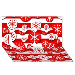 Snowflake red and white pattern Twin Hearts 3D Greeting Card (8x4)