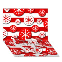 Snowflake red and white pattern LOVE Bottom 3D Greeting Card (7x5)