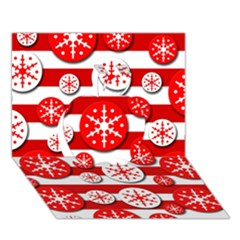 Snowflake Red And White Pattern Apple 3d Greeting Card (7x5)