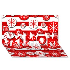 Snowflake red and white pattern #1 MOM 3D Greeting Cards (8x4)