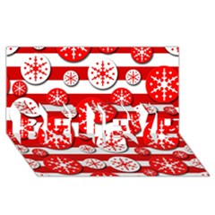 Snowflake red and white pattern BELIEVE 3D Greeting Card (8x4)