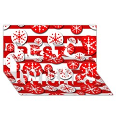 Snowflake red and white pattern Best Wish 3D Greeting Card (8x4)