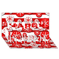 Snowflake red and white pattern Happy New Year 3D Greeting Card (8x4)