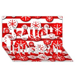 Snowflake red and white pattern Laugh Live Love 3D Greeting Card (8x4)