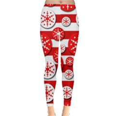 Snowflake red and white pattern Leggings