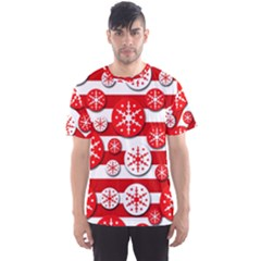 Snowflake red and white pattern Men s Sport Mesh Tee