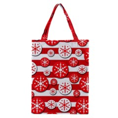 Snowflake red and white pattern Classic Tote Bag