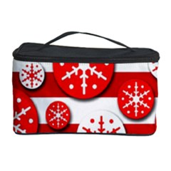 Snowflake red and white pattern Cosmetic Storage Case