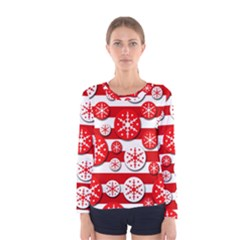 Snowflake red and white pattern Women s Long Sleeve Tee