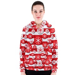 Snowflake red and white pattern Women s Zipper Hoodie