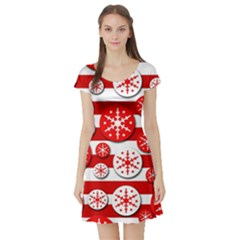 Snowflake red and white pattern Short Sleeve Skater Dress