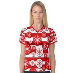 Snowflake red and white pattern Women s V-Neck Sport Mesh Tee