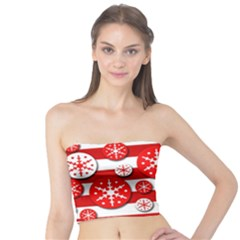 Snowflake red and white pattern Tube Top
