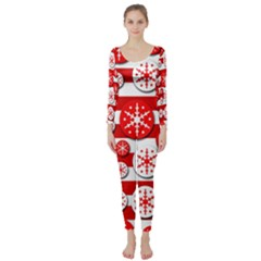 Snowflake red and white pattern Long Sleeve Catsuit