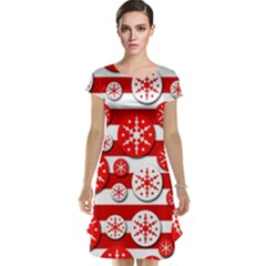Snowflake red and white pattern Cap Sleeve Nightdress