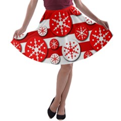 Snowflake red and white pattern A-line Skater Skirt