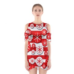 Snowflake Red And White Pattern Cutout Shoulder Dress