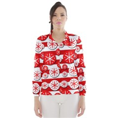 Snowflake red and white pattern Wind Breaker (Women)