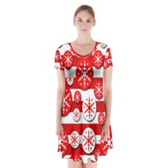 Snowflake red and white pattern Short Sleeve V-neck Flare Dress