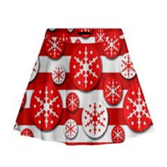 Snowflake red and white pattern Mini Flare Skirt