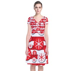 Snowflake red and white pattern Short Sleeve Front Wrap Dress