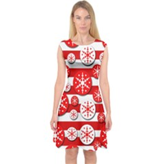 Snowflake Red And White Pattern Capsleeve Midi Dress