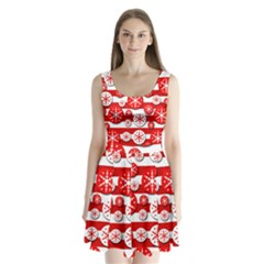 Snowflake red and white pattern Split Back Mini Dress