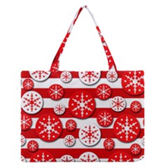 Snowflake red and white pattern Medium Zipper Tote Bag