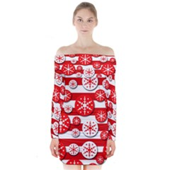 Snowflake Red And White Pattern Long Sleeve Off Shoulder Dress