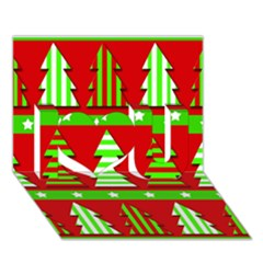 Christmas trees pattern I Love You 3D Greeting Card (7x5)