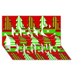 Christmas trees pattern Best Friends 3D Greeting Card (8x4)