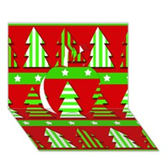Christmas Trees Pattern Apple 3d Greeting Card (7x5)