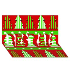 Christmas trees pattern BEST SIS 3D Greeting Card (8x4)