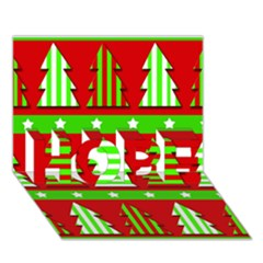Christmas trees pattern HOPE 3D Greeting Card (7x5)
