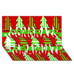 Christmas trees pattern Congrats Graduate 3D Greeting Card (8x4)