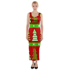 Christmas Trees Pattern Fitted Maxi Dress