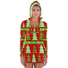 Christmas Trees Pattern Women s Long Sleeve Hooded T Shirt